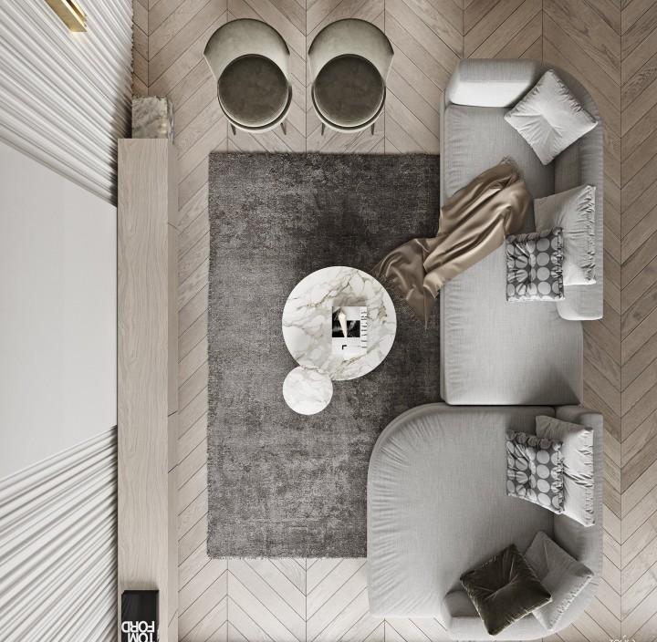 輕奢極簡風裝修設計-客廳俯瞰圖