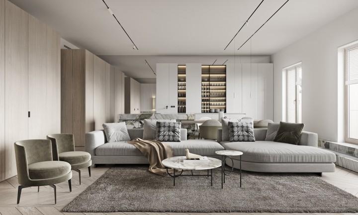 輕奢極簡風裝修設計-客廳2