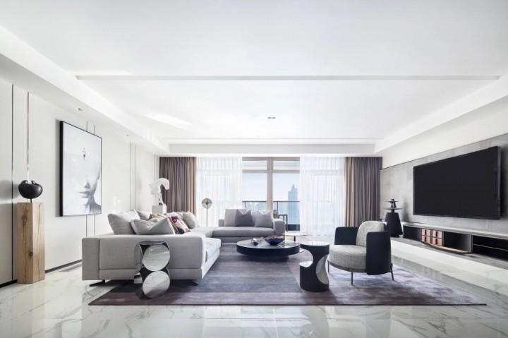 上海大平層江景奢宅-客廳